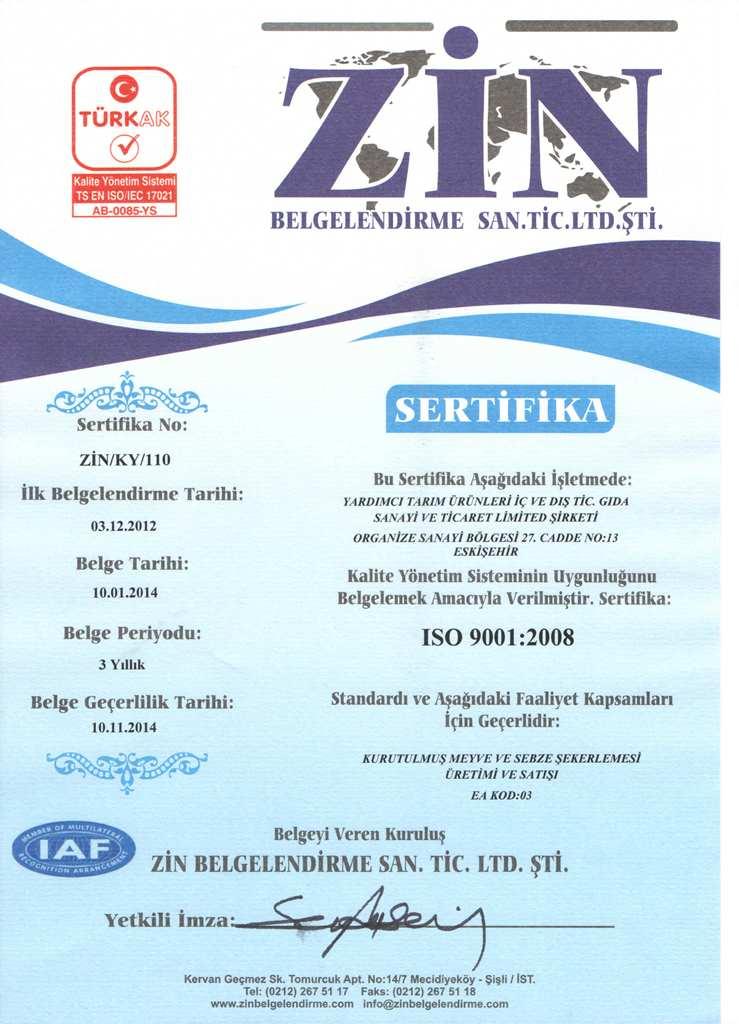 ZİN BELGELENDİRME - ISO 22000.20051