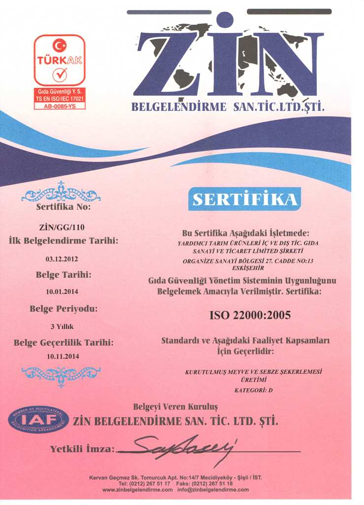 ZİN BELGELENDİRME - ISO 22000.2005